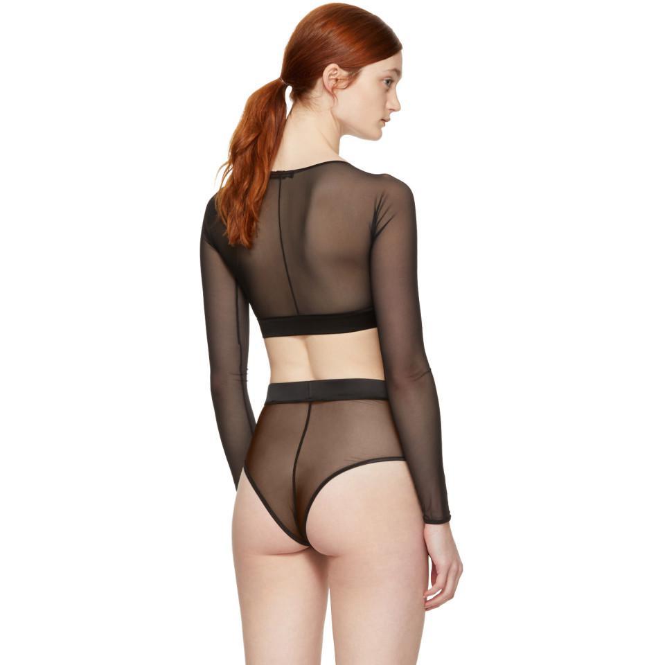 93cd775a65e98b Lyst - Kiki de Montparnasse Black Long Sleeve Soft Mesh Bralette ...
