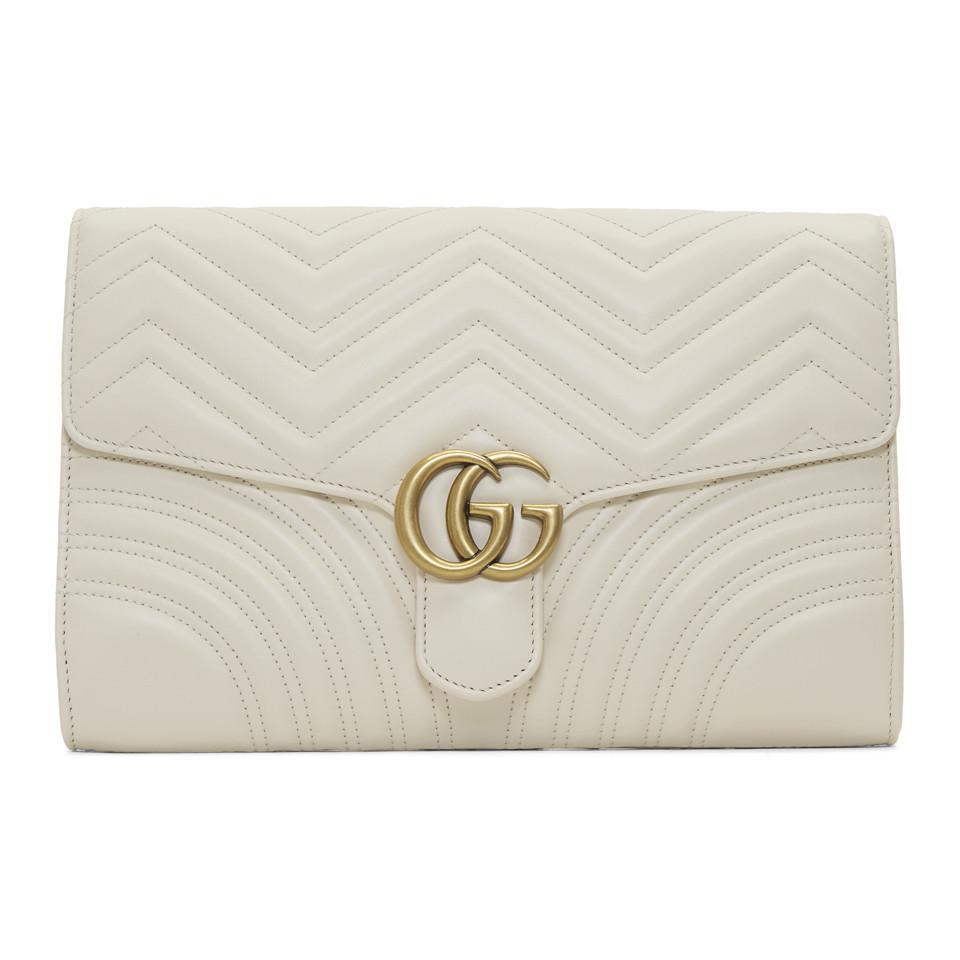 Lyst - Pochette blanche Medium GG Marmont 2.0 Gucci en coloris Blanc fd348aa332f