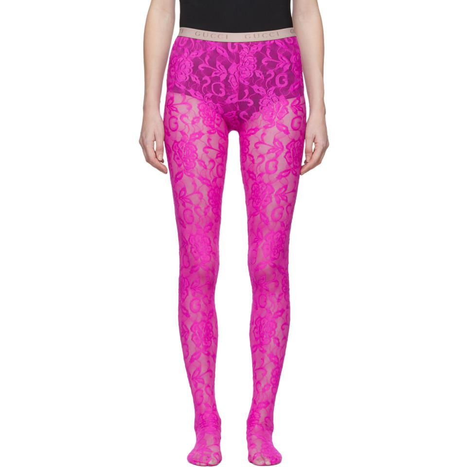 baa9f6776 Gucci Pink Lace Tights in Pink - Lyst