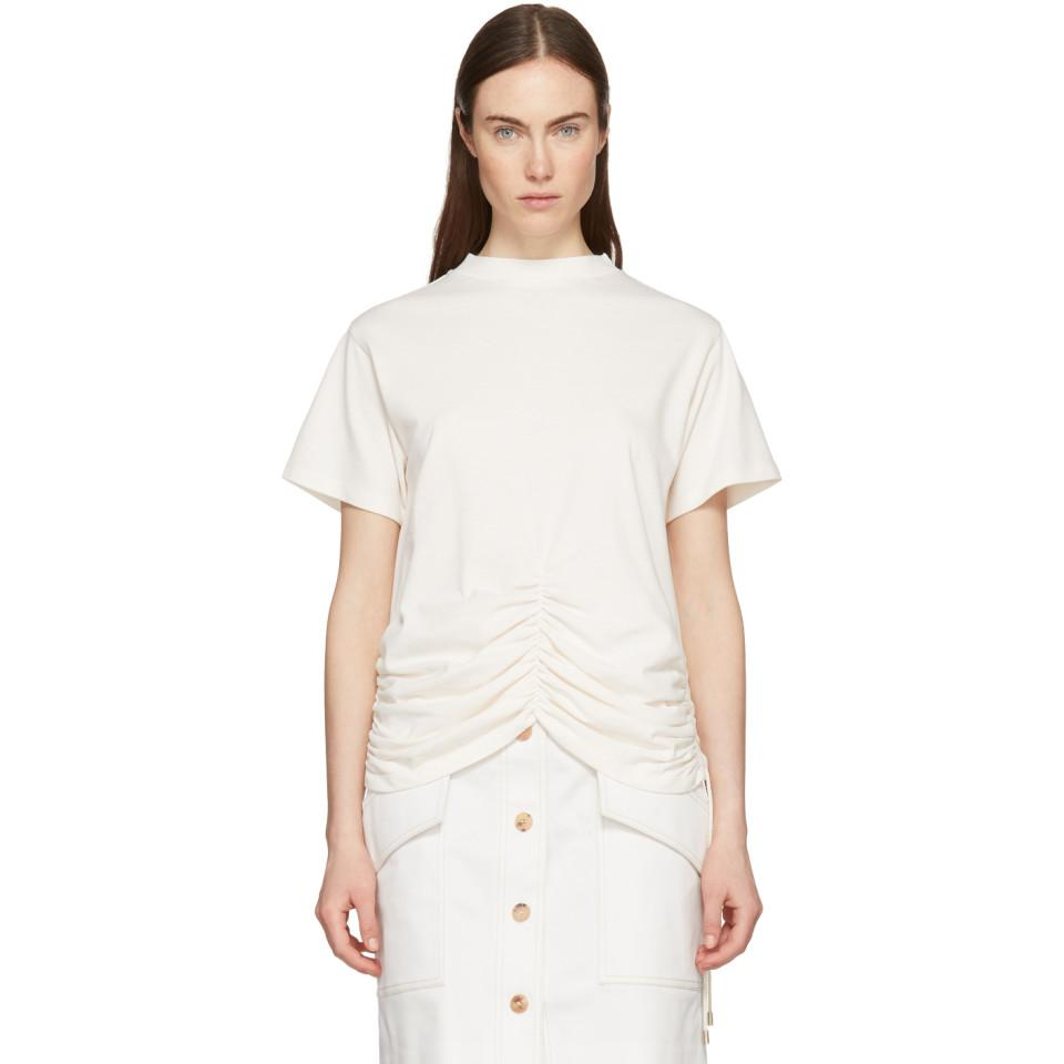 Off-White Lace-Up Ruched Detail T-Shirt Carven Real PBVUD