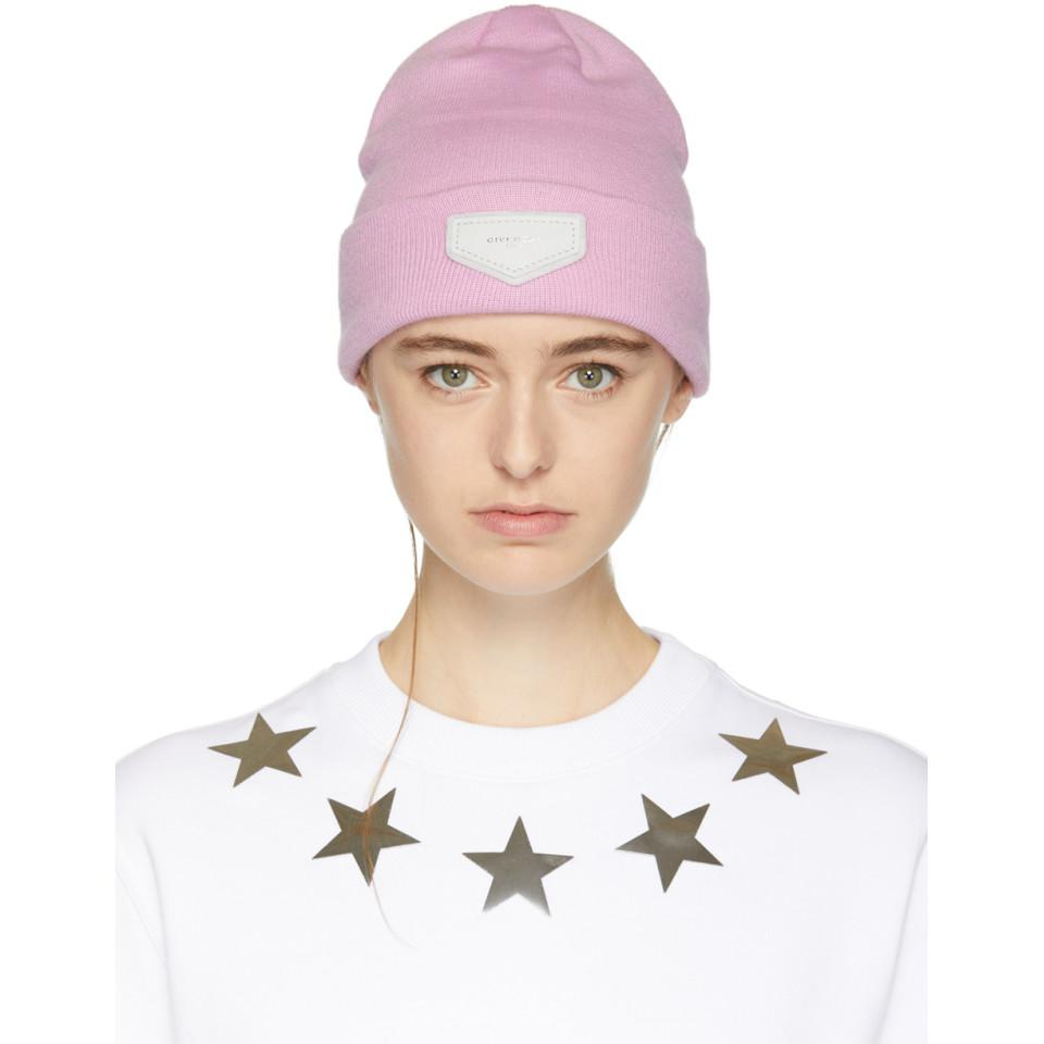 Pink Leather Logo Patch Beanie Givenchy ORK79N