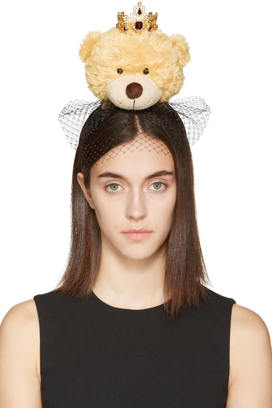 Black Lace Bear Pom Pom Headband Dolce & Gabbana ZXdO89mHEp