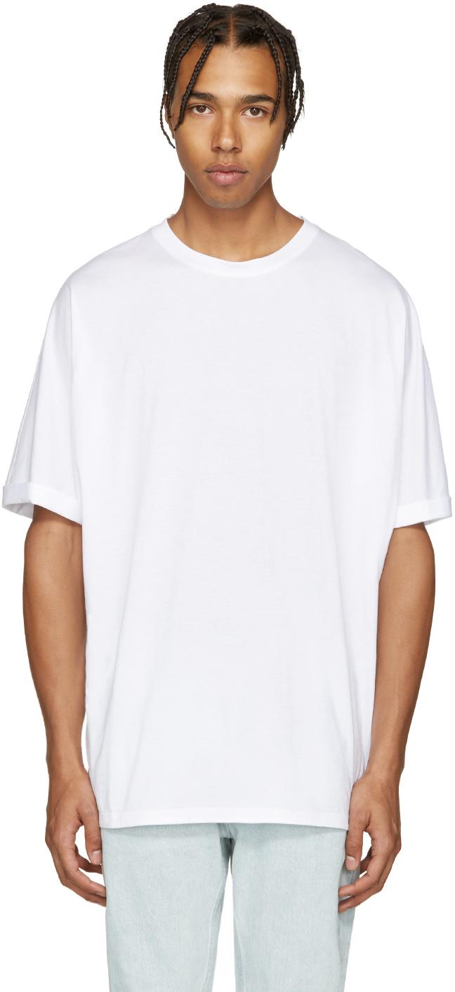 Helmut lang white oversized t shirt in white for men lyst for Helmut lang tee shirts