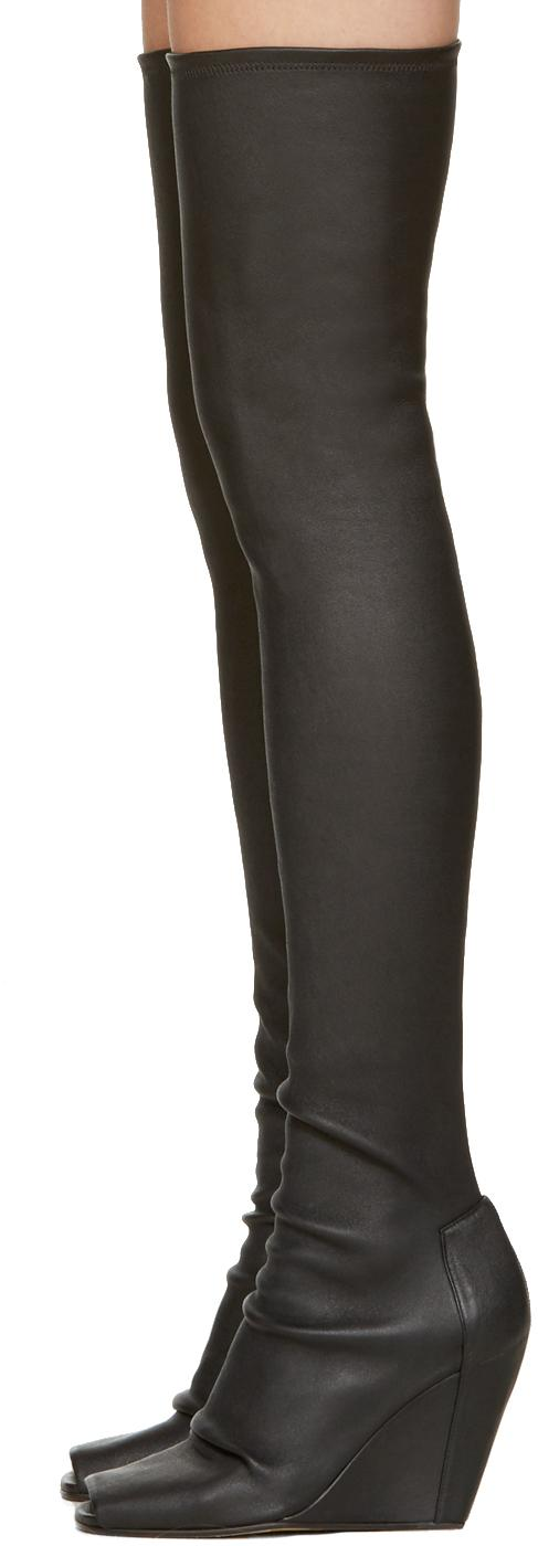 rick owens black thigh high wedge boots in black lyst
