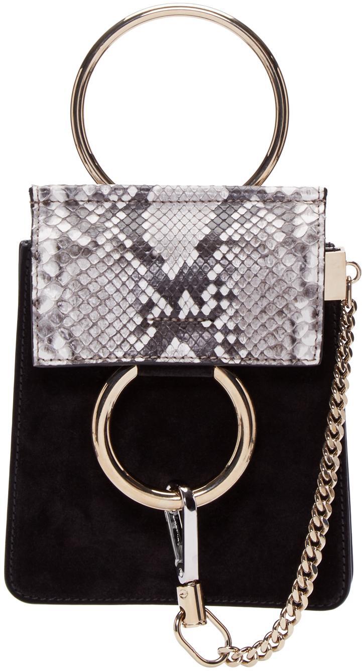 Chlo 233 Black Suede Mini Faye Bracelet Bag In Black Lyst