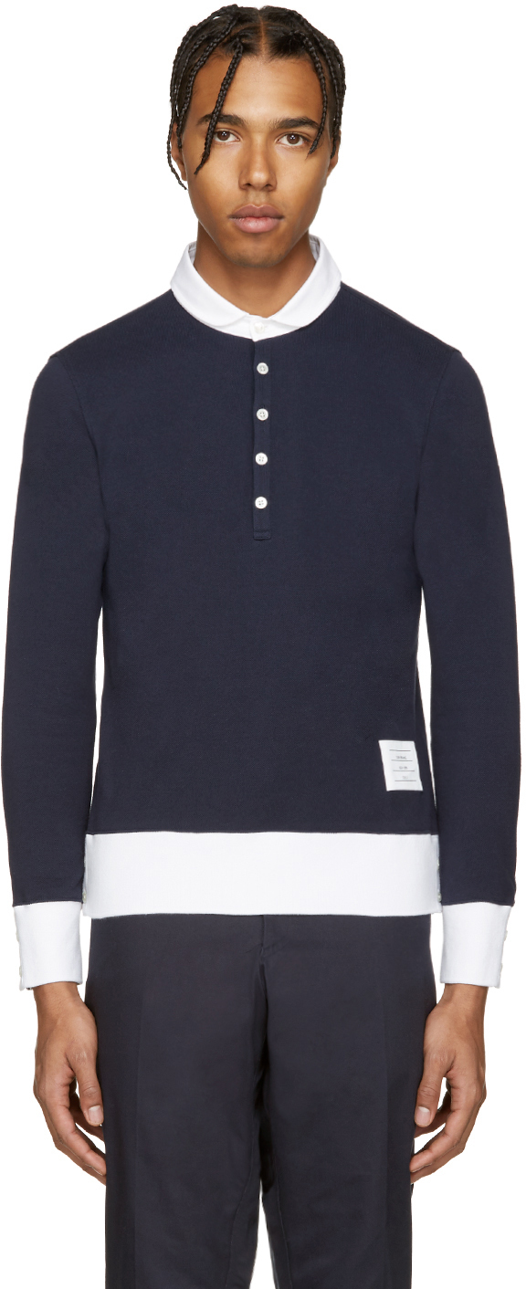 Thom browne navy long sleeve polo in blue for men navy for Thom browne shirt sale