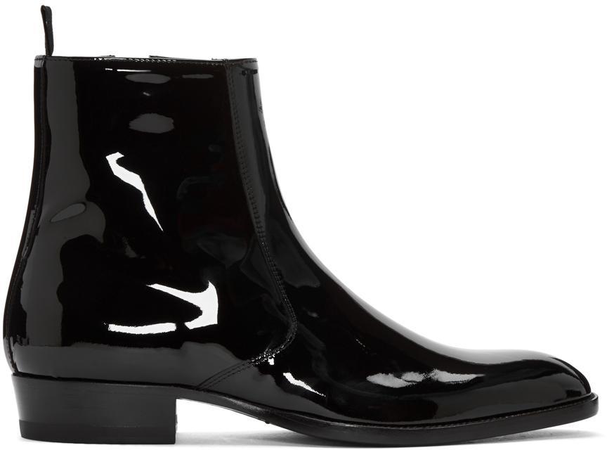 Lyst Saint Laurent Black Patent Leather Hedi Boots In