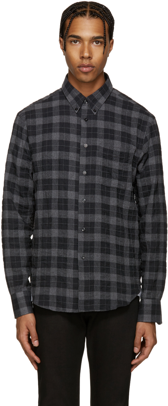 naked famous grey plaid flannel shirt in gray for men