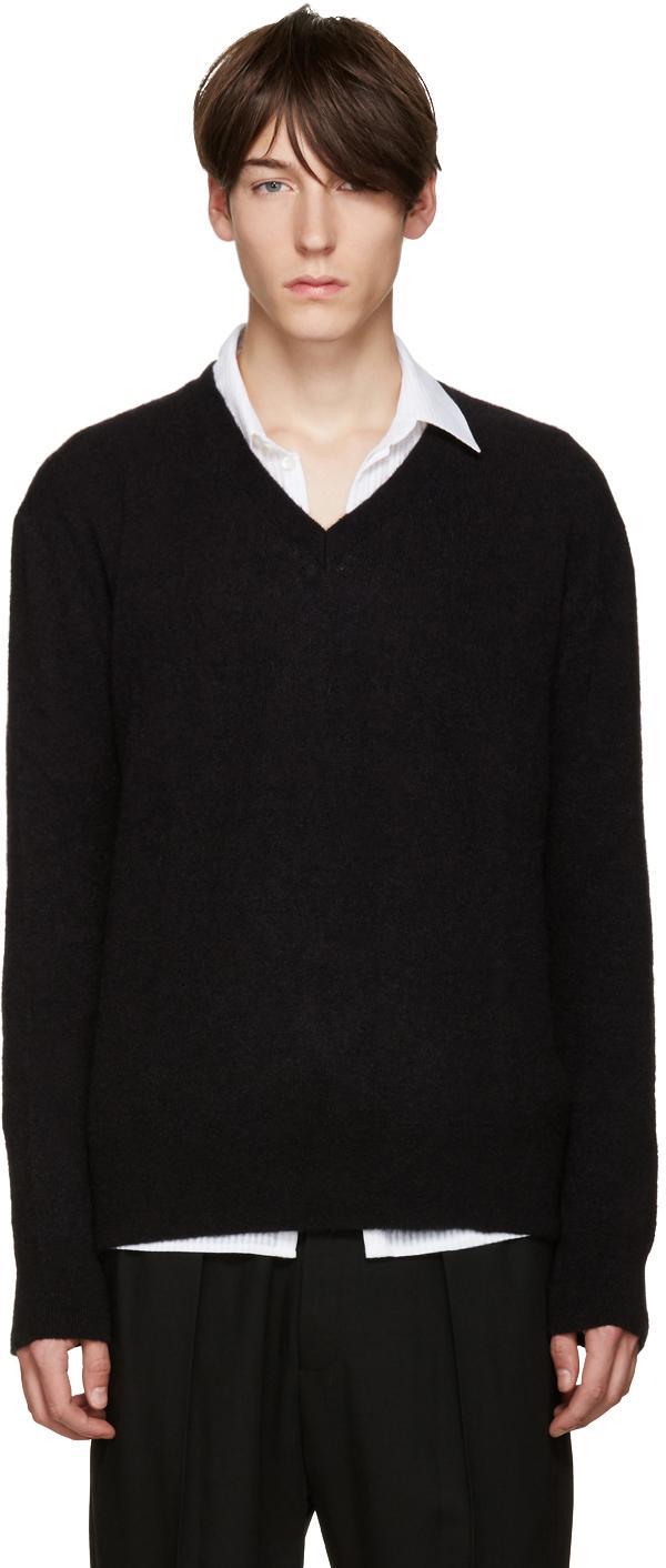 haider ackermann black mohair v neck sweater in black for. Black Bedroom Furniture Sets. Home Design Ideas