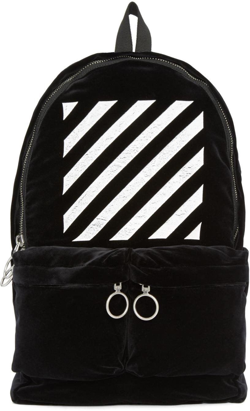 off white c o virgil abloh black velvet backpack in black. Black Bedroom Furniture Sets. Home Design Ideas