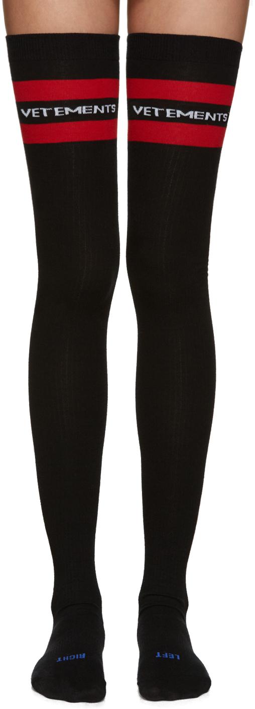 Vetements Ssense Exclusive Black Thigh High Socks In Black