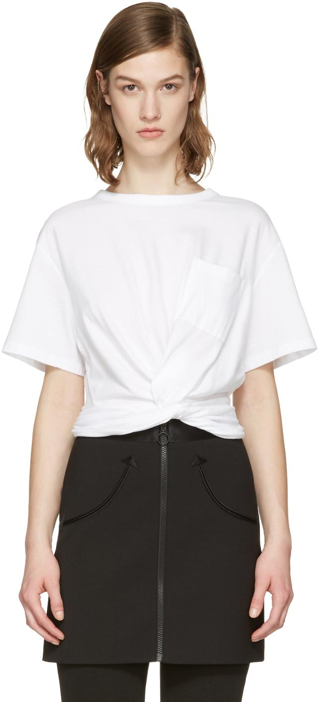 T by alexander wang white front twist t shirt in white lyst for Alexander wang t shirt women