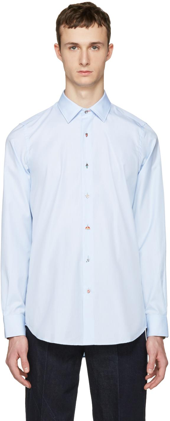 Lyst paul smith blue charm buttons tailored shirt in for Tailor made dress shirts