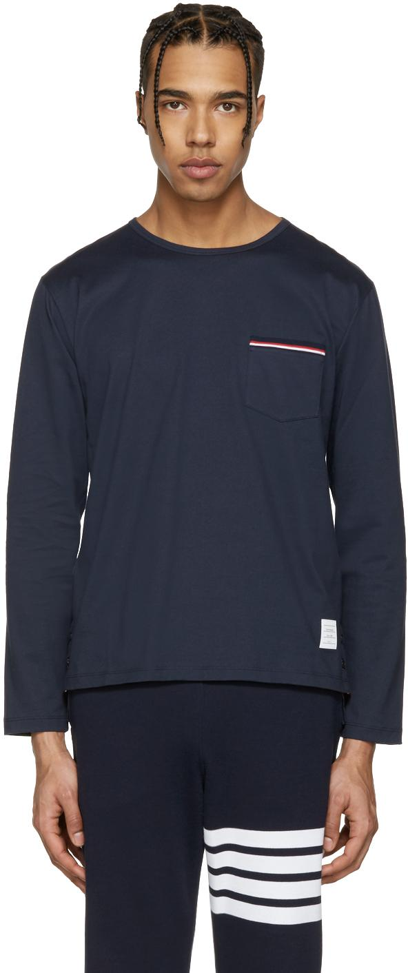 Thom browne navy pocket t shirt in blue for men lyst for Thom browne shirt sale