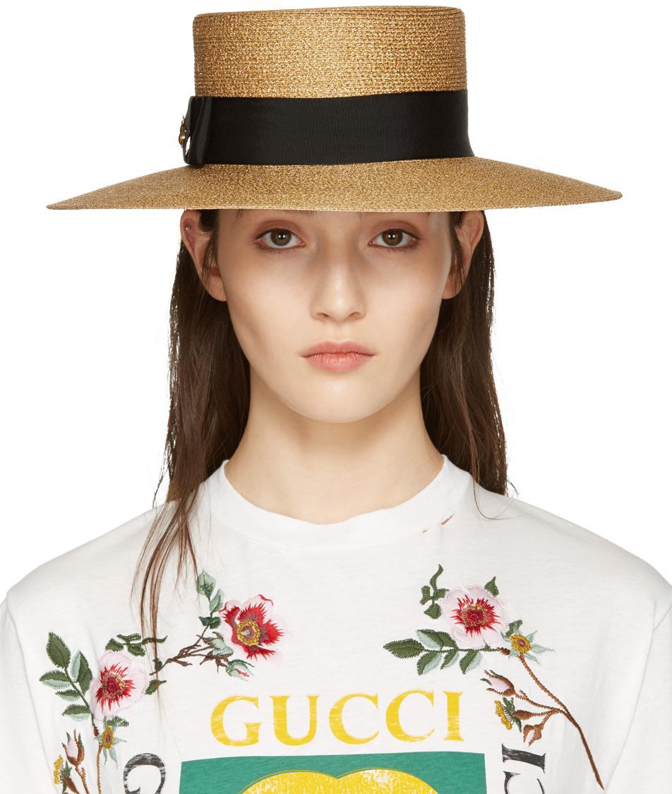 Gucci Gold Lurex Papier Hat in Metallic - Lyst ddeb47d91ca
