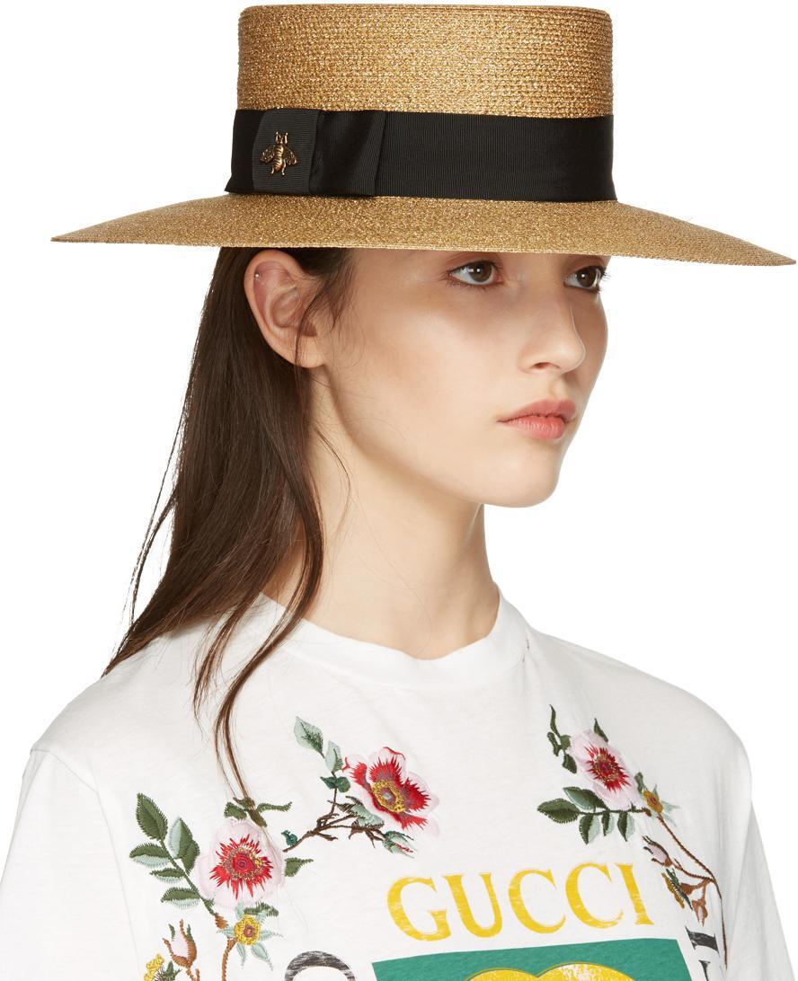 Lyst - Gucci Gold Lurex Papier Hat in Metallic 73629c961b0