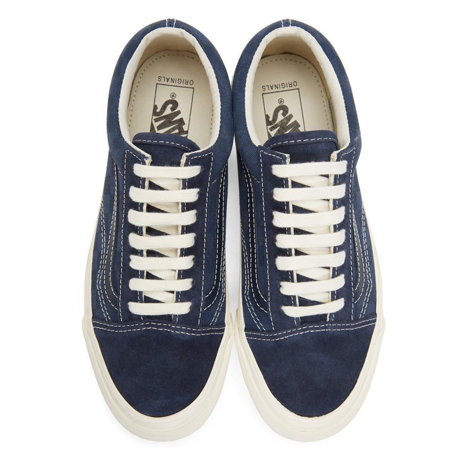 9124b3e75dcc Lyst - Vans Navy Checkerboard Og Old Skool Lx Sneakers in Blue for Men