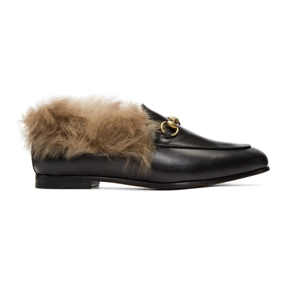 012971dc854 Lyst - Gucci Black Jordaan Fur Slippers in Black