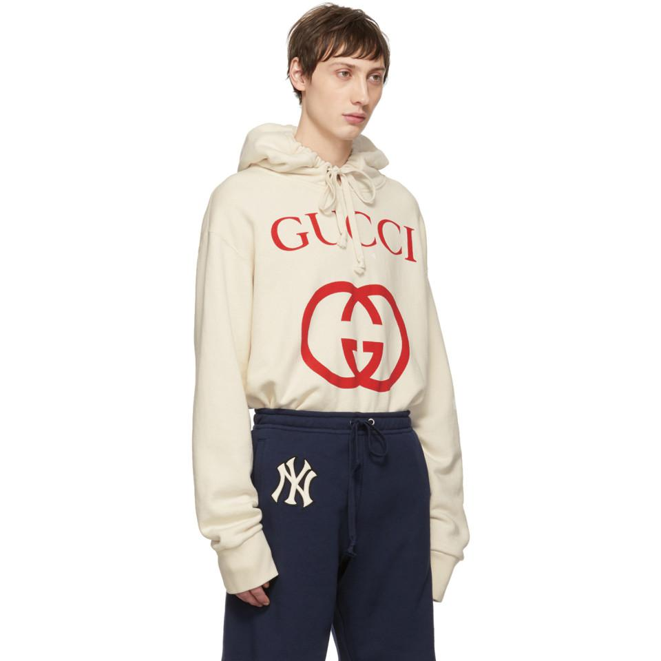 78b972072a3 Lyst - Gucci Off-white Logo Hoodie in White for Men - Save 25%