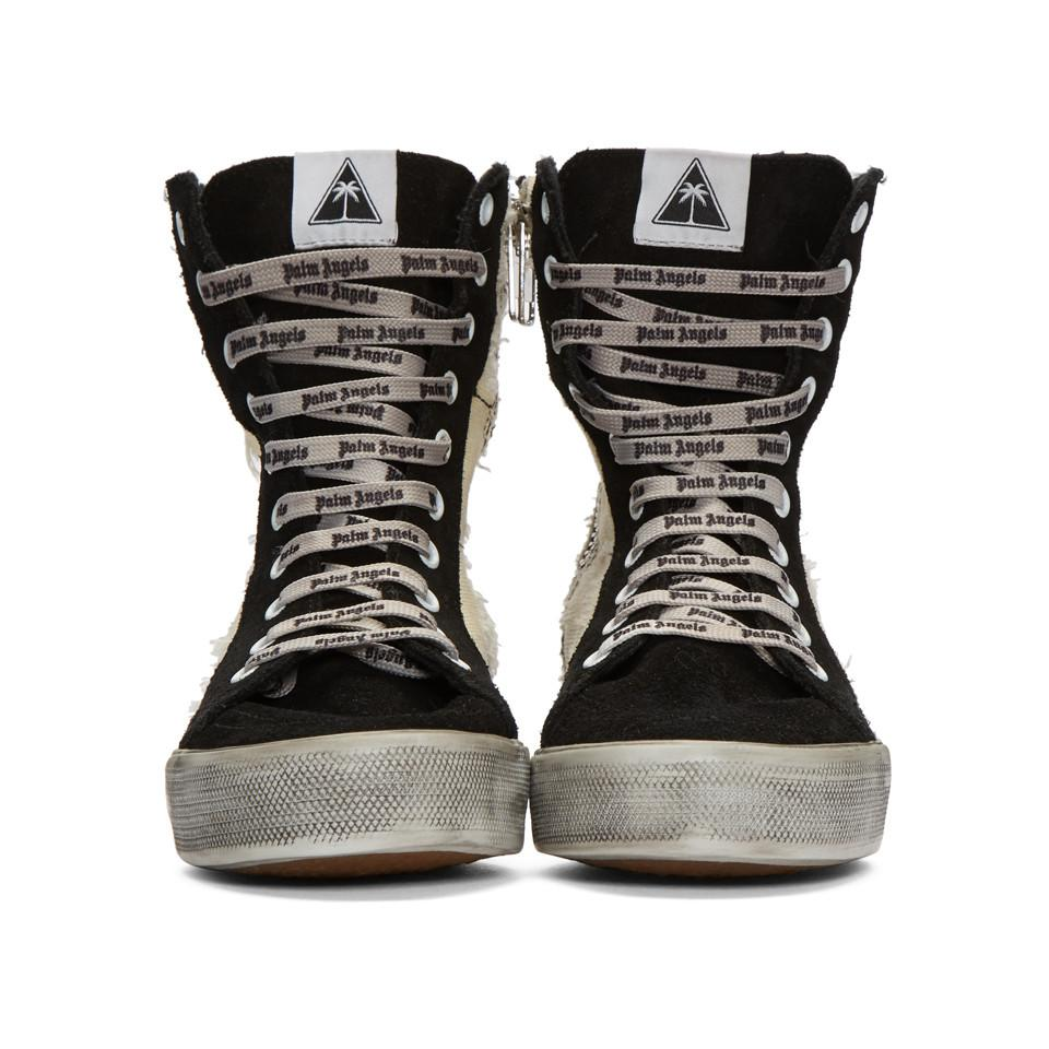 Black and Off-White Distressed Suede Super High-Top Sneakers Palm Angels 67PzMdxP