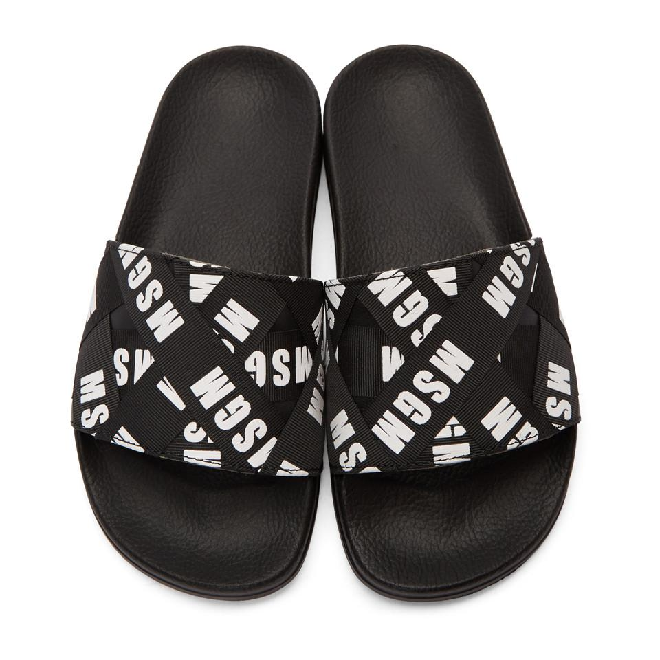 dc81abf5d1f1 Lyst - MSGM Black Logo Ribbons Pool Slides in Black