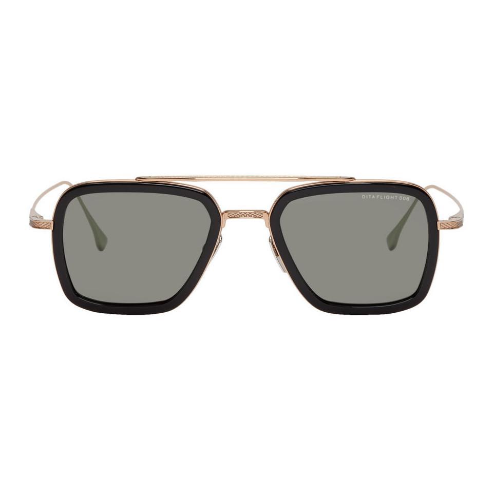 7031b5288fdd DITA Black And Gold Flight.006 Aviator Sunglasses for Men - Lyst