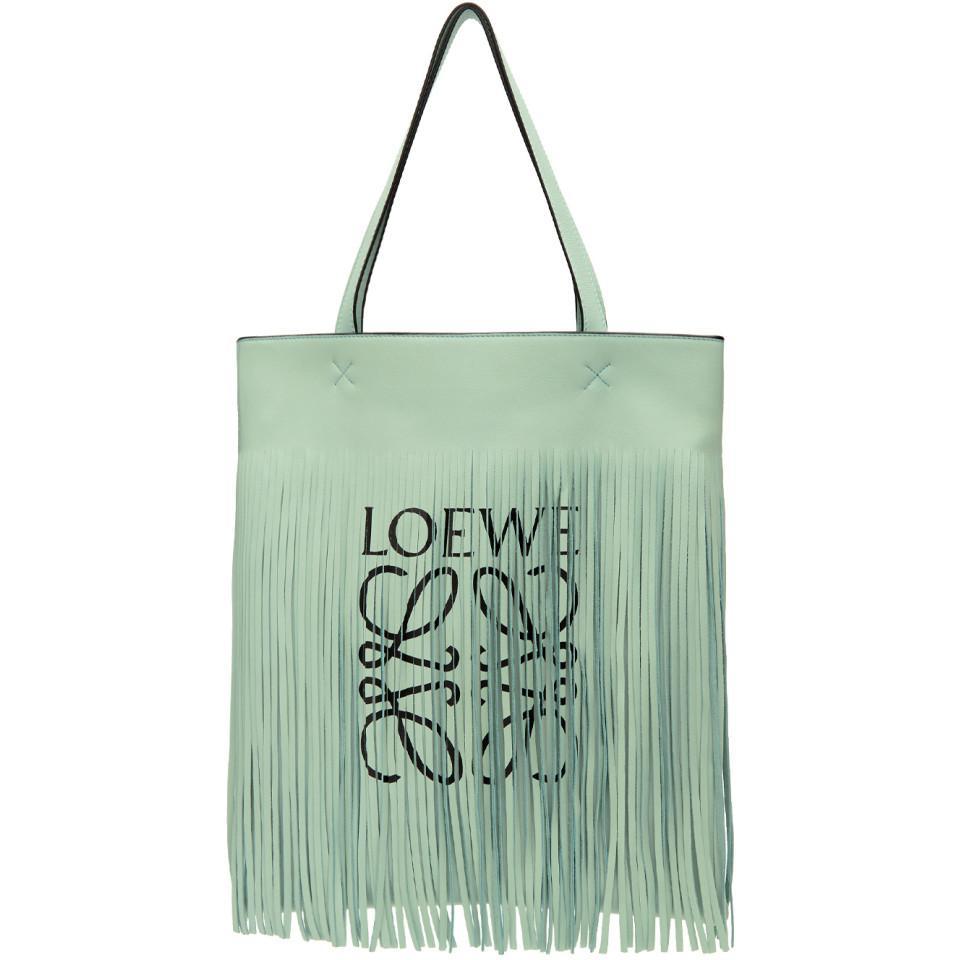 + Paulas Ibiza Fringed Printed Leather Tote - Light green Loewe