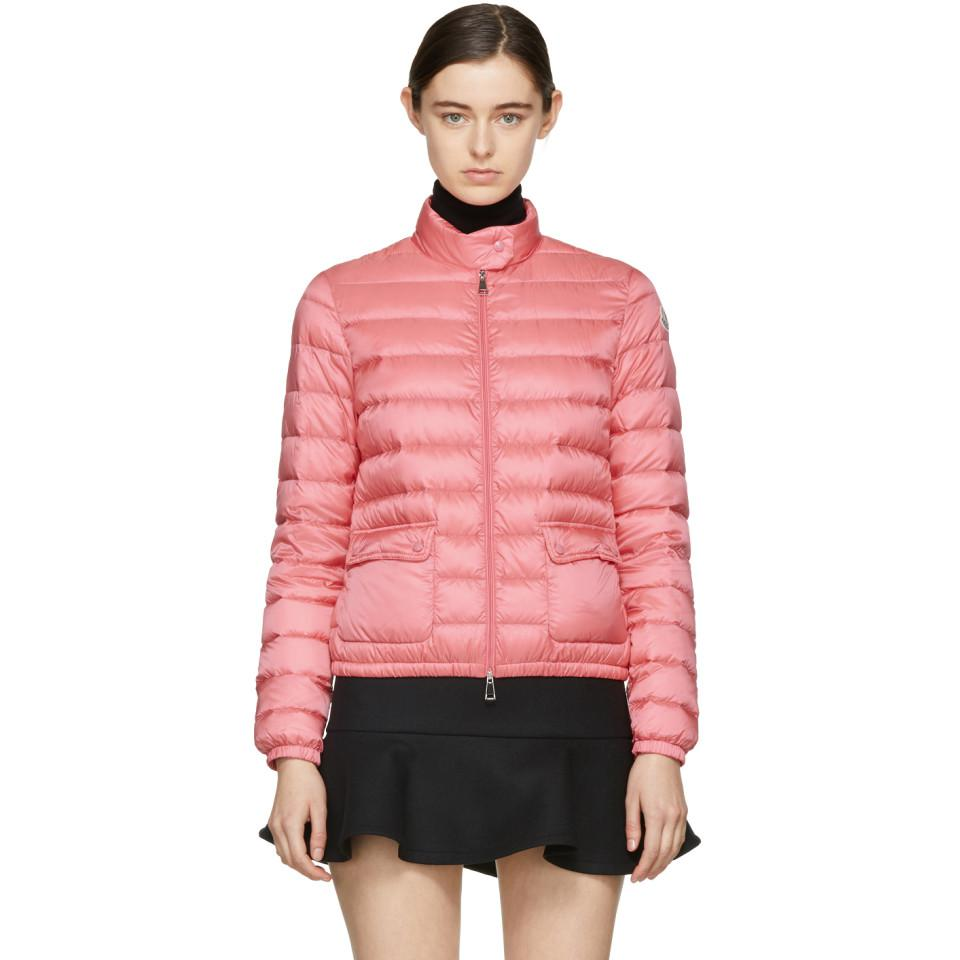 9aa685246 Lyst - Moncler Pink Down Lans Jacket in Pink
