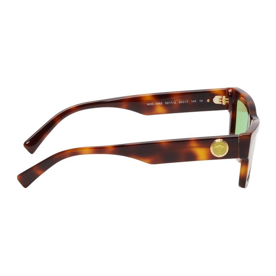 f9d9250d6ba84 Versace - Brown Tortoiseshell Medusa Rectangular Sunglasses for Men - Lyst.  View fullscreen