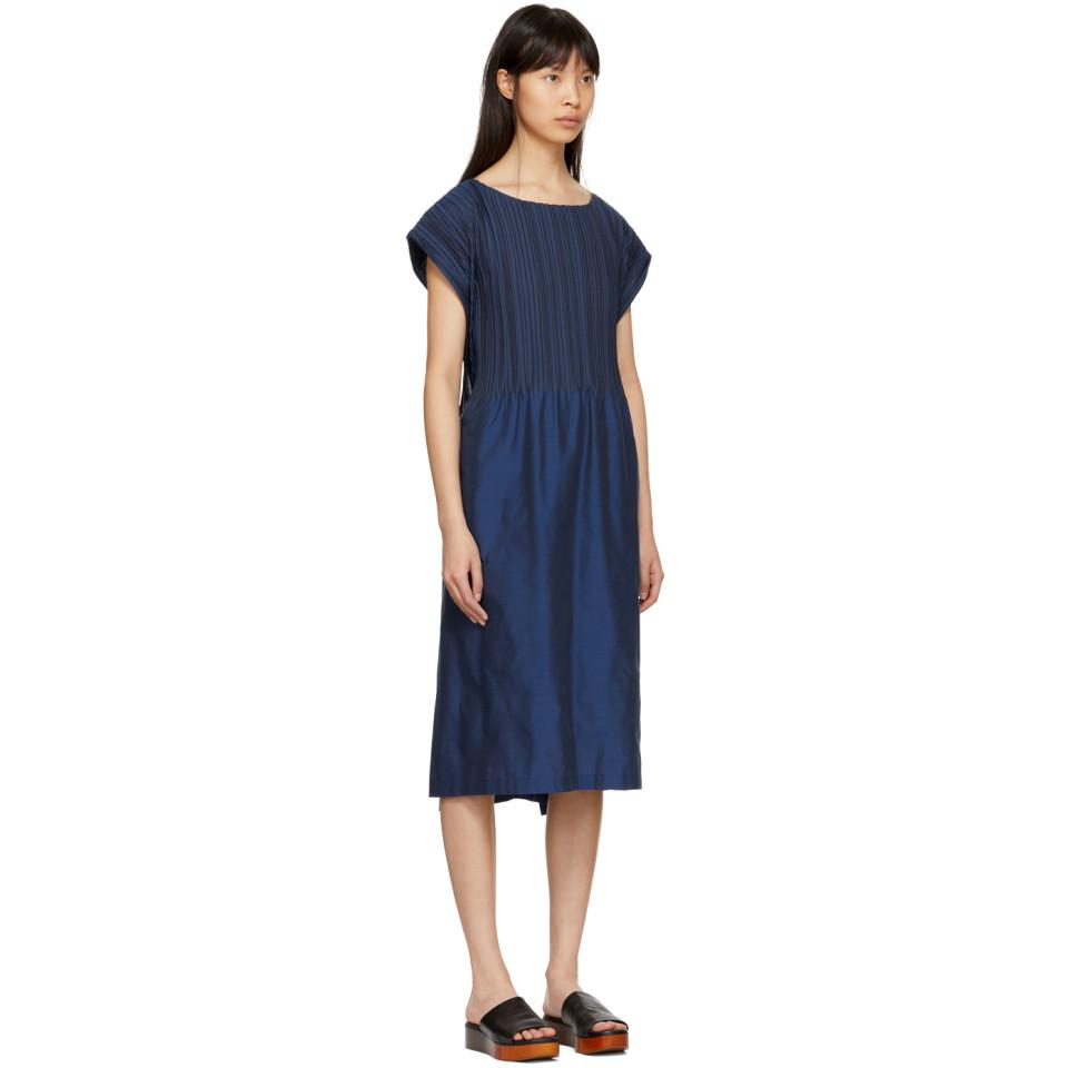 Discount Amazon Fake Cheap Price Blue Frame Pleats Dress Issey Miyake Sale 2018 Shopping Online ceR5EID