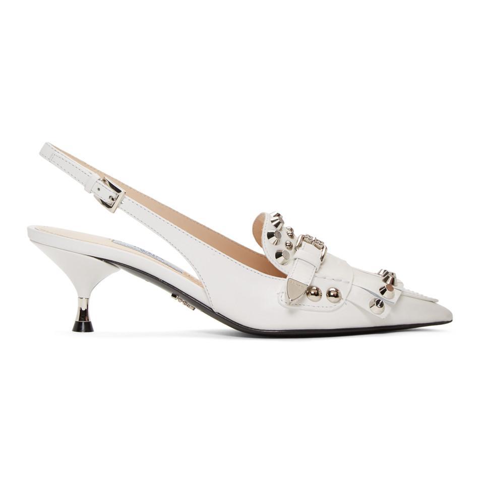 Vente Meilleur Endroit Vente 100% Garanti Prada White Studded Heels dJaFX3