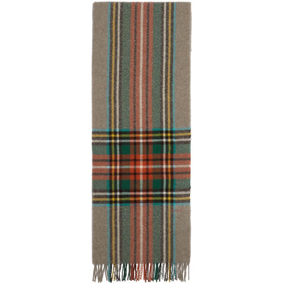 Lyst - Foulard a carreaux en laine multicolore Gucci pour homme en ... 0dd4c778411