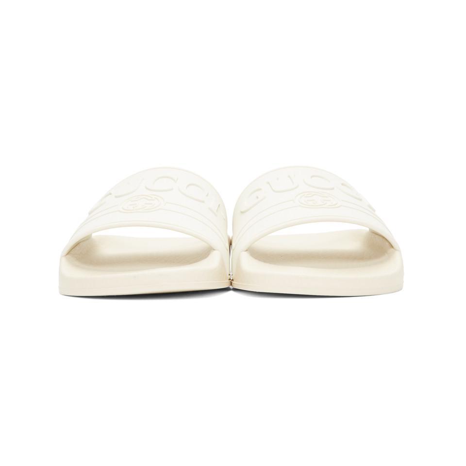 bd1af03447 Gucci - White Pursuit Pool Slides - Lyst. View fullscreen