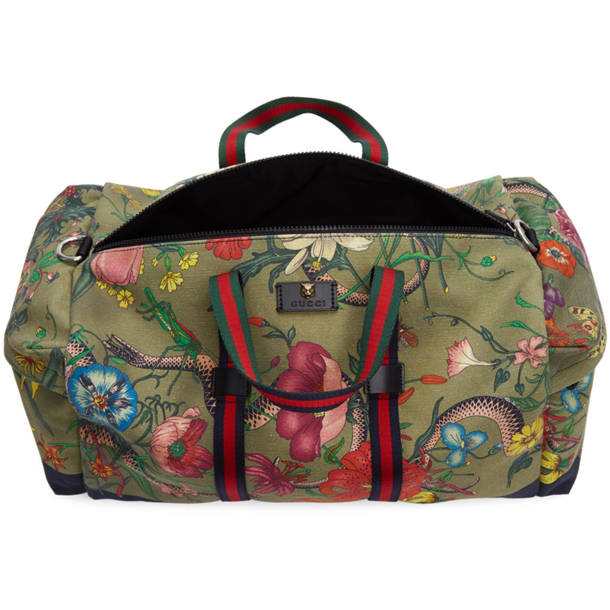 9c1bd7b6ad8 Lyst - Gucci Green Canvas Flora Snake Duffle Bag in Green for Men
