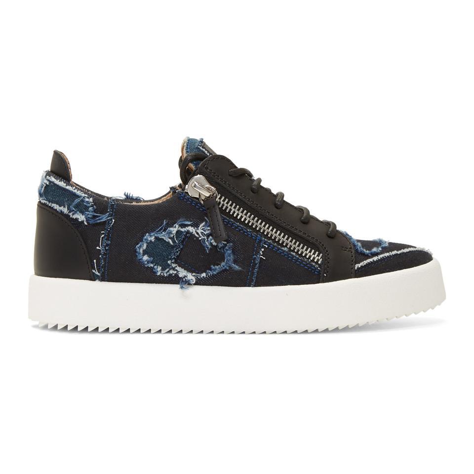 987f012a950 Lyst - Giuseppe Zanotti Blue And Black Denim Frankie Sneakers in ...
