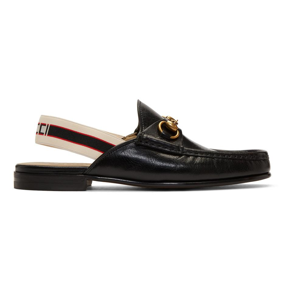 71a90be8e84 Lyst - Gucci Open Roos Leather Loafers W  Elastic in Black for Men