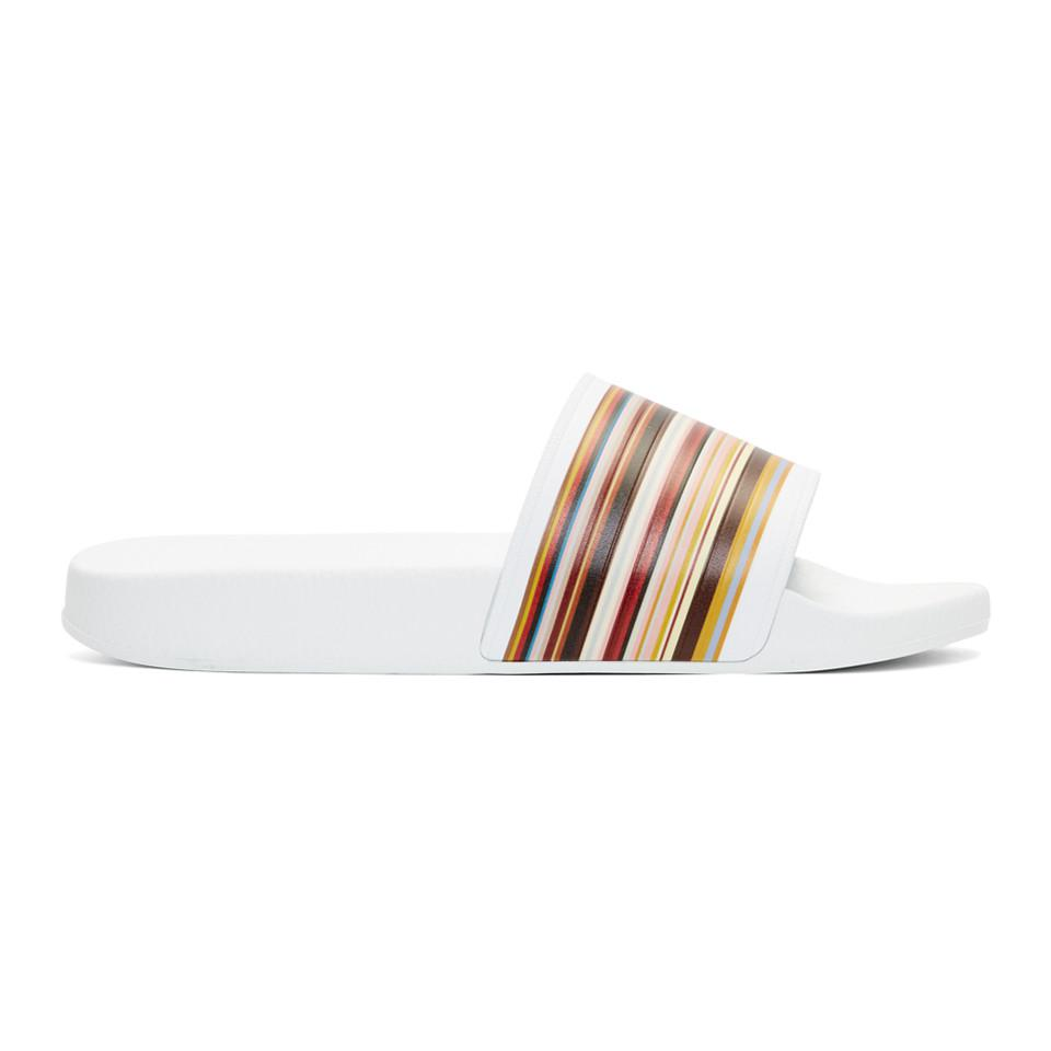 PS by Paul Smith White Multistripe Ruben Slides dSNapv