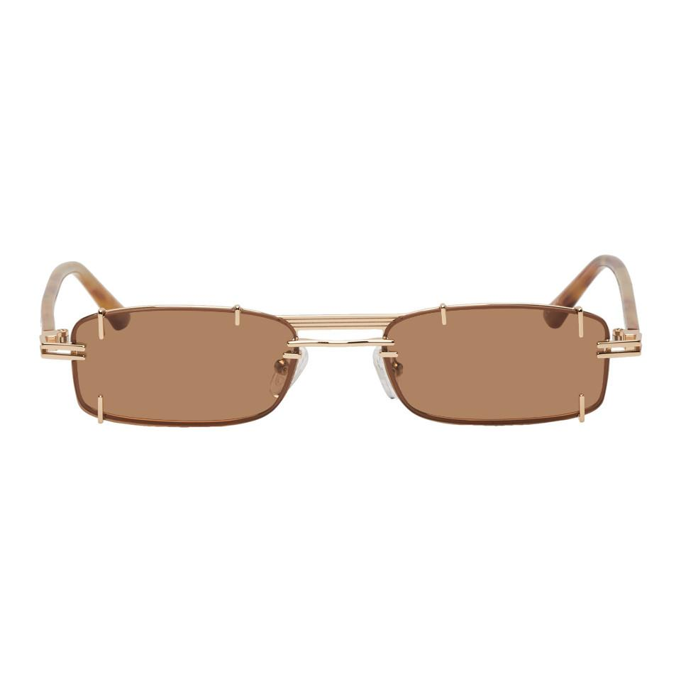 09eb8eace7 Lyst - Y. Project Gold And Brown Linda Farrow Edition Neo Sunglasses ...