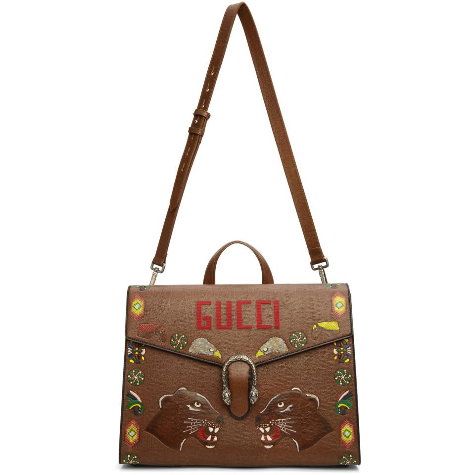 d0a82ce66ff Lyst - Gucci Dionysus Hand-painted Textured-leather Briefcase in ...