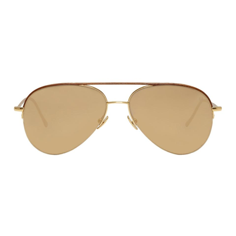 fcb50a518e7f3 Lyst - Belstaff Gold And Brown Phoenix Aviator Sunglasses in Brown ...