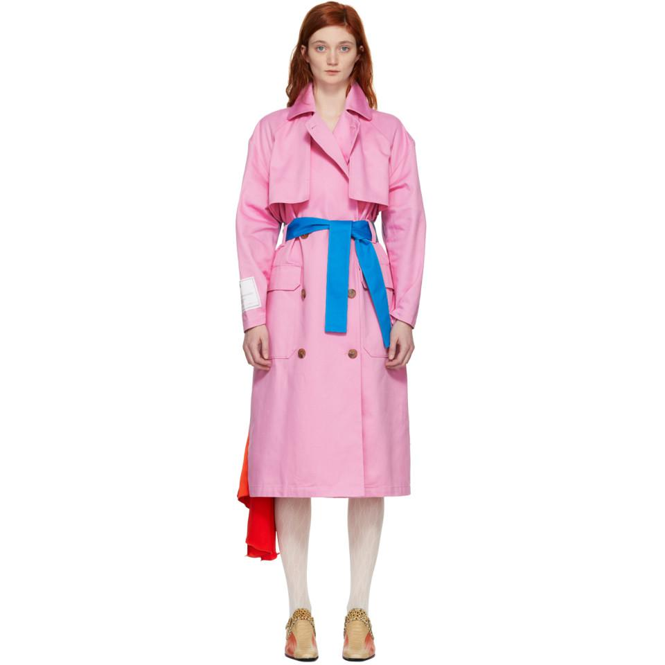 trench coat with contrast belt and satin insertMsgm CZM0Z