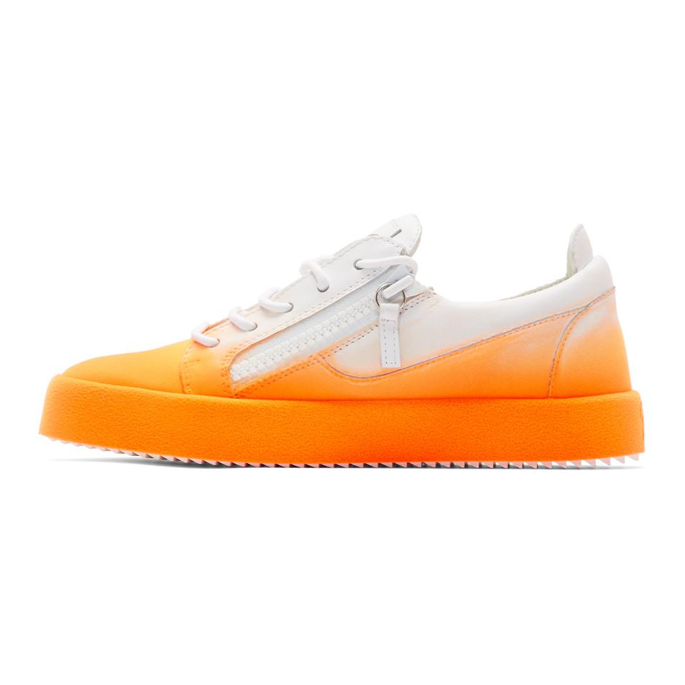 White and Orange Flashy May London Sneakers Giuseppe Zanotti TibtHacXh