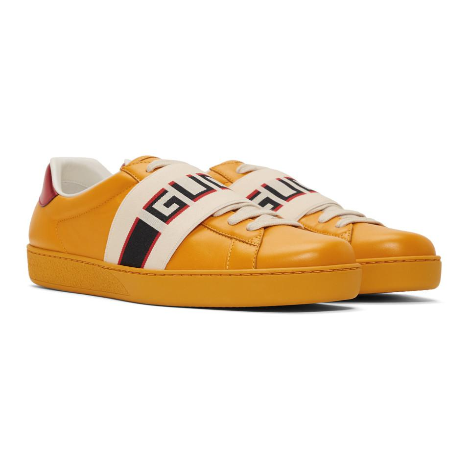 1b67db967a0 Gucci - Yellow New Ace Elastic Band Sneakers for Men - Lyst. View fullscreen