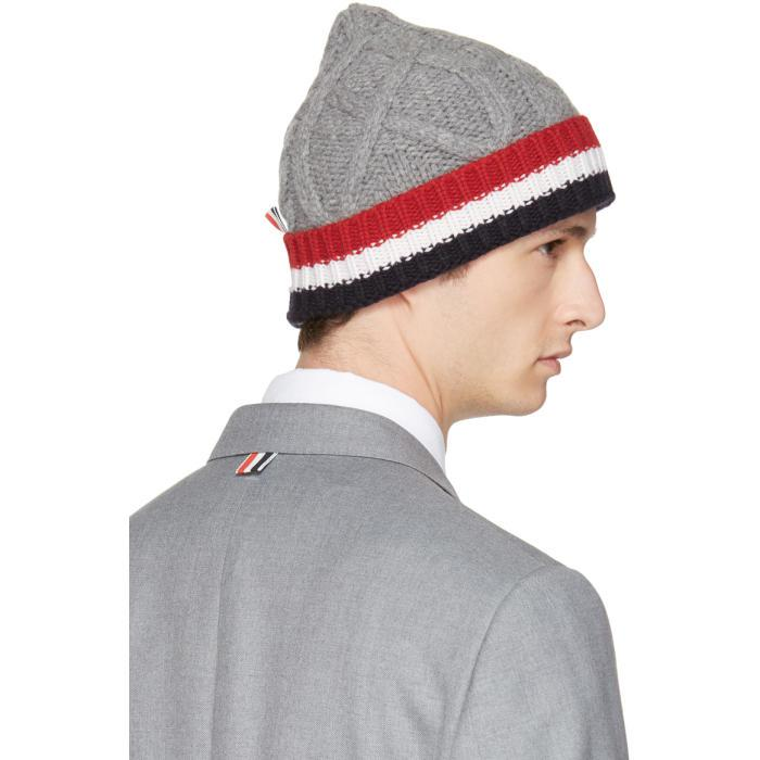 ec688bf10d4 Lyst - Thom Browne Grey   Tricolor Merino Aran Cable Beanie in Gray ...
