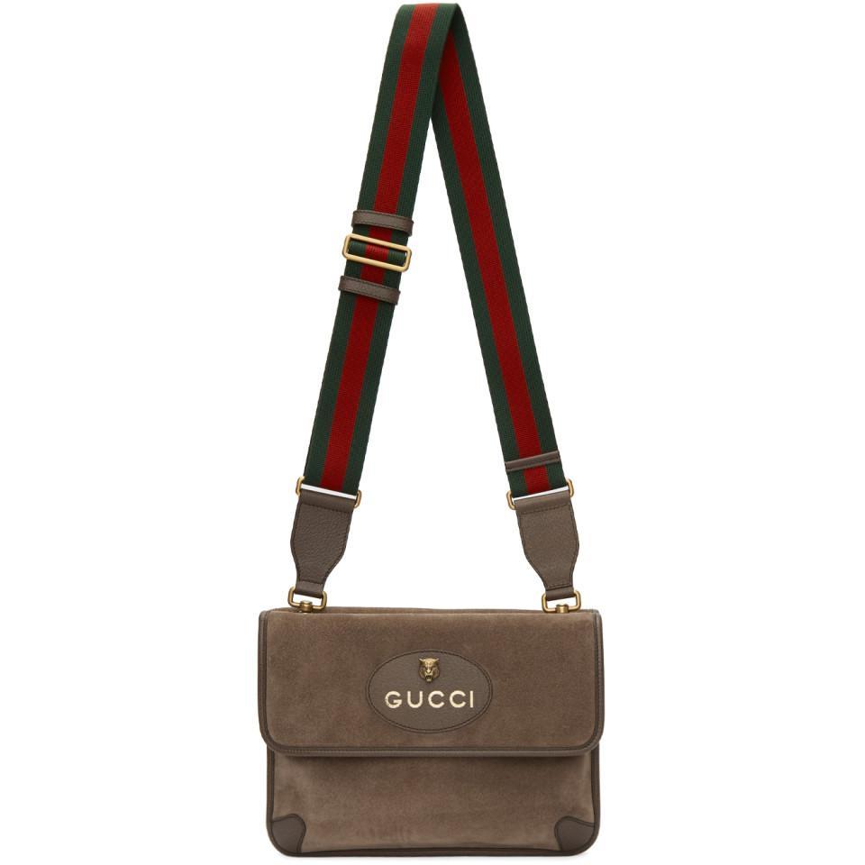 8a7cd48a3d5 Gucci Beige Suede Neo Vintage Foldover Messenger Bag in Natural for ...