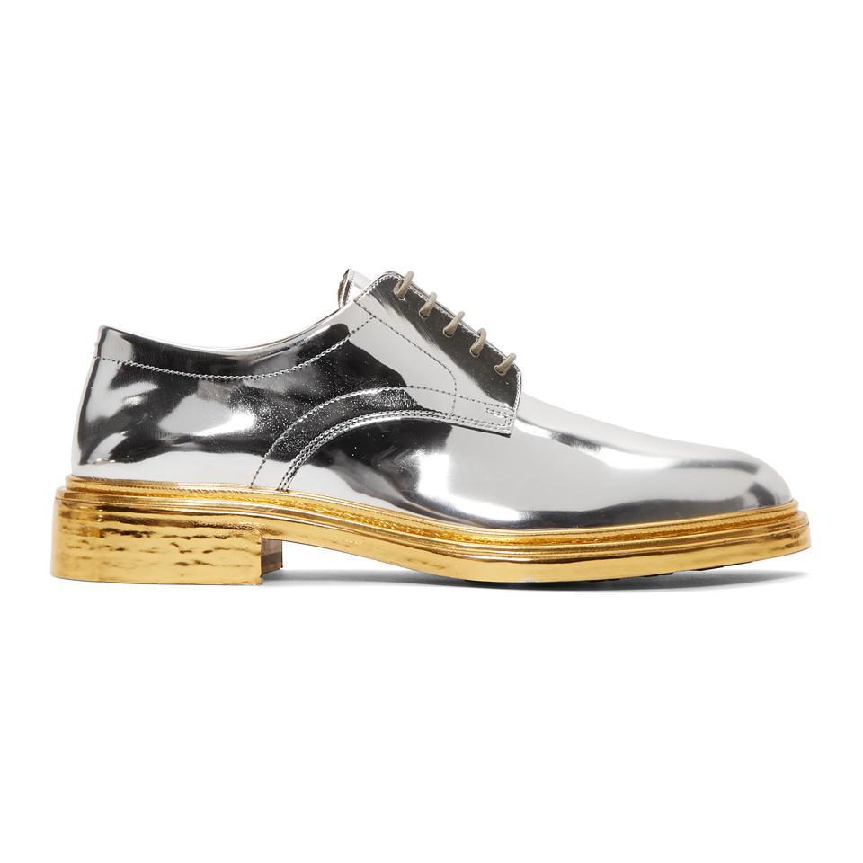 Maison Margiela Silver & Gold Lace-Up Derbys HVcrR0A6Bd