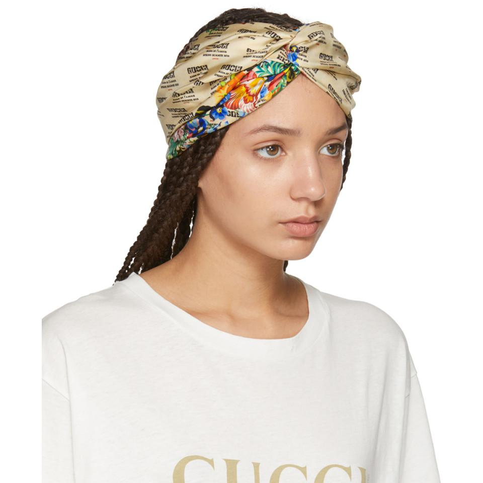 5130dd8fe97 Gucci - White Ivory Logo Stamp Headband - Lyst. View fullscreen