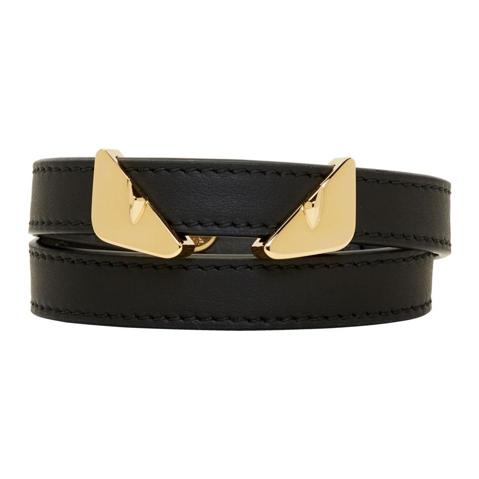 328742c1c0b6 Fendi Black Leather Bag Bugs Double Wrap Bracelet in Black for Men ...