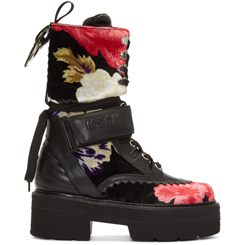 Msgm Multicolor Floral Print Platform Boots yDZFfB
