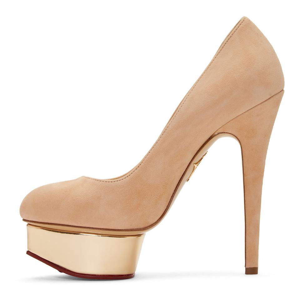 Charlotte Olympia SSENSE Exclusive Pink Suede Dolly Platform Heels